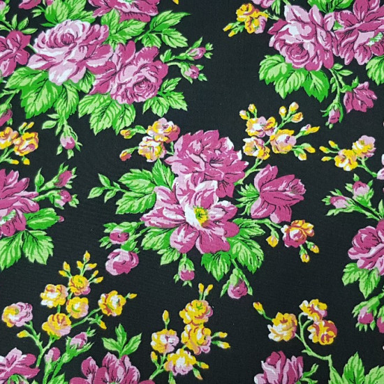 Cretonne Catalan Flowers Lilac fabric - Typical Catalan Cretonne. Black background fabric with floral patterns where lilac predominates