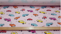 Elastic Twill Classic Cars fabric - Strong cotton fabric, twill type, with drawings of classic cars on a pink background. The fabric is 150cm wide and its composition 95% cotton 5% Spandex