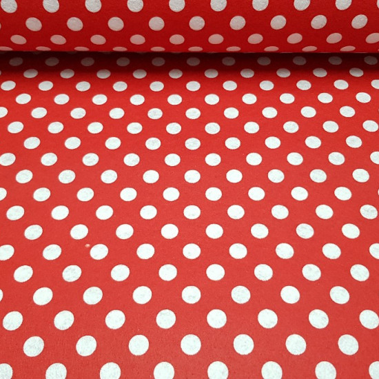 Felt Polka Dot fabric - Felt fabric printed with white polka dots and red background. Ideal for children's crafts, decorations and ornaments ... The fabric is 90cm wide and its composition is 100% polyester.
