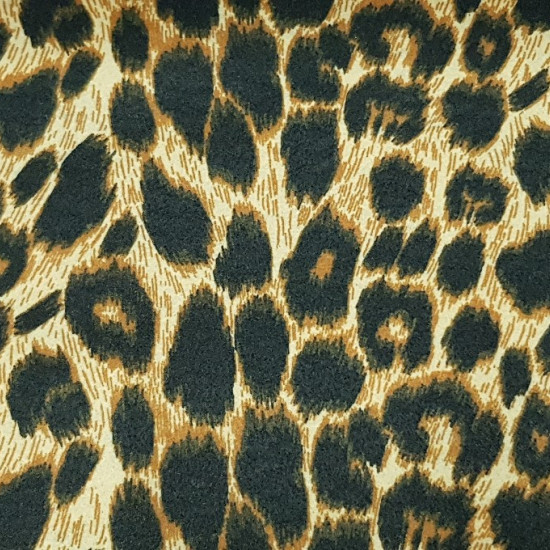 Felt Leopard fabric - Felt fabric printed with pattern imitating leopard skin. The felt is ideal for crafts, accessories and costumes. The printed felt fabric measures 90cm wide and its 100% polyester composition