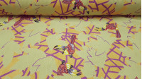 Cotton Jacquard Tropical Birds fabric - Cotton fabric making jacquard effect with drawings of tropical birds and leaves in mustard yellow, lilac and light green tones. A very funny fabric, perfect for example to make cushions or decorate any corner of the