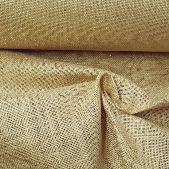 Burlap Lurex fabric - Burlap fabric with lurex / gold threads. Ideal for Christmas decorations, crafts, carnival... The fabric is 150cm wide and its composition is 98% jute - 2% lurex