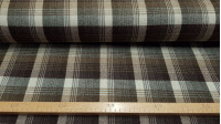 Wool Tartan Brown Tones fabric - Wool fabric tartan style or plaid in dark brown and light tones. The fabric is 140cm wide and its composition 100% wool