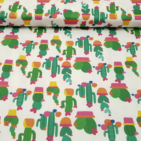 Cotton Cactus Ágatha Ruiz de la Prada fabric - Licensed cotton fabric with cactus drawings in pots, many shapes of hearts and the colors of Ágatha Ruiz de la Prada. All on a white background. A beautiful fabric! The fabric is 140cm wide and its compositio