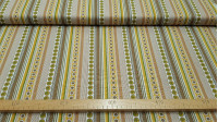 OUTLET Cotton Ocher Stripes and Circles fabric - Cotton fabric with drawings of stripes and circles in the shape of a daisy, where the colors ocher, brown, yellow predominate. The fabric is 140cm wide and its composition is 100% cotton. Cheap Fabric Outle