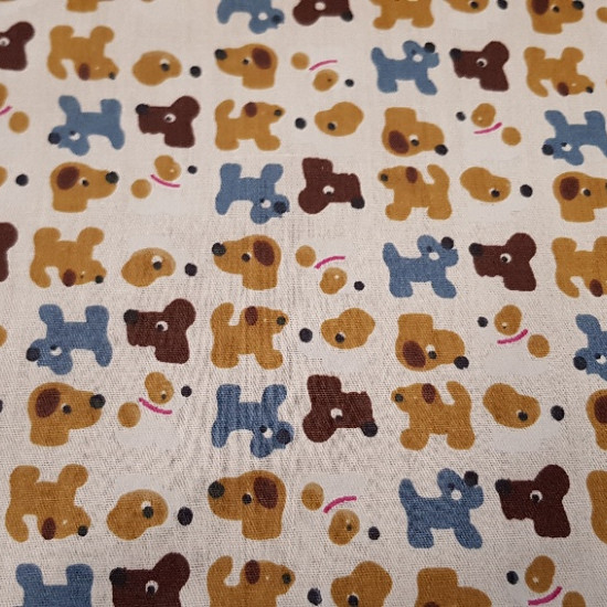 Cotton Figures Dogs fabric - This fabric combines figures of different dogs on a beige/cream background Its composition is 100% Cotton and the width of the fabric is 150cm Ideal fabric for making accessories and Patchwork crafts