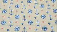 Cotton Anchors and Rudders - Cotton fabric with drawings of ship anchors and blue rudders on a cream background. It is also decorated by red and blue starfish