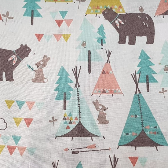 Cotton Indian Tipi Animals fabric - Beautiful children's themed cotton fabric with drawings of teepee tents in bright colors, trees, colored triangles and forest animals such as bears, bunnies and little birds. Have you noticed that animals are decorated