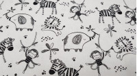 Cotton Safari Central Animals fabric - Cotton fabric with drawings of lions, zebras, monkeys and elephants on a white background. This fabric is part of the Safari Central collection by Fabric Palette The fabric is 110cm wide and its composition is 10