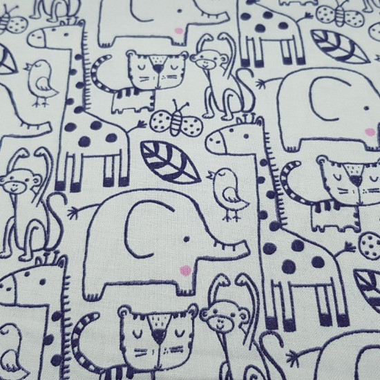 Cotton Animals Strokes fabric - American width cotton fabric with dark blue jungle animals pattern on a white background. This fabric is part of the Hide & Seek Collection by Fabric Palette. The fabric is 110cm wide and its composition is 100%
