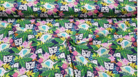 Cotton Hidden Animals fabric - American wide cotton fabric with pictures of jungle animals hidden among plants. This fabric is part of the Hide & Seek Collection by Fabric Palette. The fabric is 110cm wide and its composition is 100% cotton.