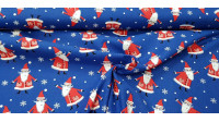 Cotton Christmas Noel Blue fabric - Christmas cotton fabric with Santa Claus drawings on a blue background with snowflakes. The fabric is 110cm wide and its composition is 100% cotton.