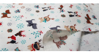 Cotton Christmas Dog Gifts White fabric - Christmas cotton fabric with drawings of dogs with reindeer antlers, gifts, ice flakes, bows... on a white background. The fabric is 110cm wide and its composition is 100% cotton.