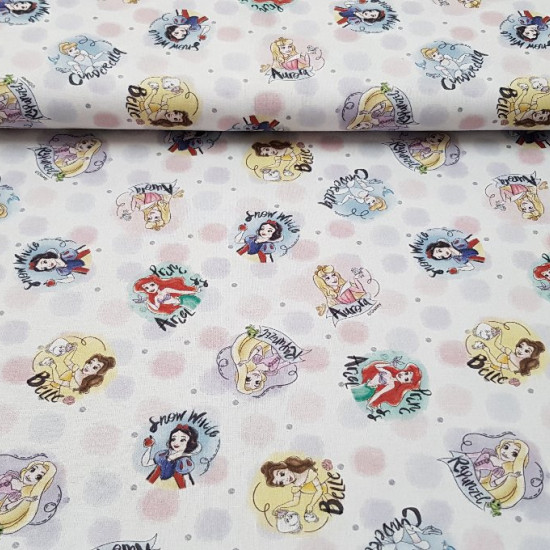 Cotton Disney Princesses Polka Dots fabric - Disney cotton fabric with the drawings of princesses such as Bella, Ariel, Rapuntzel, Snow White, Cinderella and Aurora on a white background with large and small colored dots.