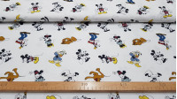 Cotton Disney Classic Characters fabric - Disney cotton fabric with the drawings of classic characters Mickey, Minnie, Pluto, Donald and Goofy, on a white background.