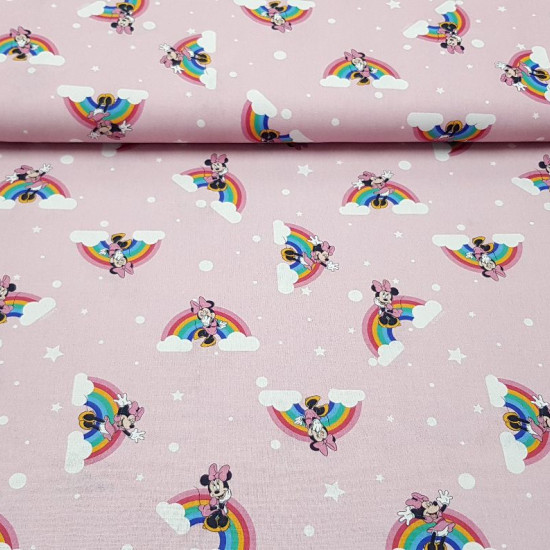 Cotton Disney Minnie Rainbow Pink fabric - Algodón Disney Minnie Arcoiris - Algodón Disney Minnie Arcoiris Rosa - Cotton Fabrics