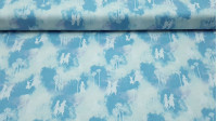 Cotton Disney Frozen 2 Silhouettes fabric - Disney digital cotton fabric with drawings of the silhouettes of Elsa, Anna and Olaf from the movie Frozen 2. All on a light blue background with clouds. The fabric is 110cm wide and its composition 100% cotton.