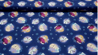 Cotton Disney Frozen 2 Anna Elsa Olaf Blue fabric - Disney children's cotton fabric with the characters from the Frozen 2 animated film on a dark blue background with snowflakes. The characters Anna, Elsa and Olaf appear. The fabric is 110cm wide and its
