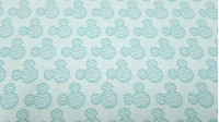 Cotton Disney Mickey Mint Silhouettes fabric - Disney license cotton fabric with silhouette drawings with Mickey ears in mint green striped pattern on a white background. The fabric is 110cm wide and its composition 100% cotton.