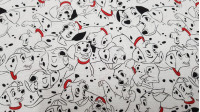Cotton Disney 101 Dalmatians fabric - Disney children's cotton fabric with the drawings of 101 Dalmatians in which the dog Pongo, Perdita and their puppies appear on a white background. The fabric is 110cm wide and its composition 100% cotton.