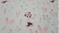 Disney Cotton Minnie Foxes fabric - Disney licensed cotton fabric with drawings of the character Minnie with little foxes, birds and flowers on a white background. The fabric is 110cm wide and its composition is 100% cotton.