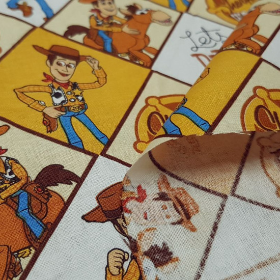 Cotton Toy Story Woody fabric - Disney licensed cotton fabric with the character Woody, the cowboy from the movie Toy Story, who appears in several panels on his Bullseye horse. The fabric is 110cm wide and its composition is 100% cotton.