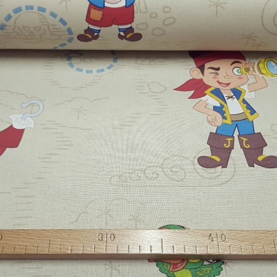 Cotton Disney Jake Never Land Pirates fabric - Decorative cotton fabric with drawings of the characters from the Disney Junior series, Jake and the Neverland Pirates. Where the characters of Jake, Captain Hook, Cubby and the Skully parrot appear on a ligh