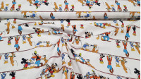Cotton Disney Characters Ladder fabric - Disney licensed cotton fabric with drawings of the characters Mickey, Pluto, Goofy and Donald sitting on a ladder, hanging from it, taking selfies with the mobile ... on a white background. The fabric is 150cm wide