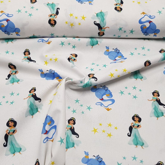 Cotton Disney Aladdin Stars fabric - Disney licensed cotton fabric with drawings of the characters Jazmin and the lamp genie from the movie Aladdin, on a white background with gold and green stars. The fabric is 150cm wide and its composition is 100% co
