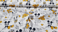 Cotton Disney Mickey Pluto Balloons fabric - Disney licensed cotton fabric with drawings of the characters Mickey and Pluto playing with water balloons on a white background. The fabric is 150cm wide and its composition is 100% cotton.
