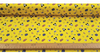 Cotton Disney Mickey Hey Yellow fabric - Disney licensed cotton fabric with drawings of Mickey faces winking on a yellow background with symbols, stars and onomatopoeias. The fabric is 110cm wide and its composition is 100% cotton.