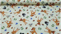 Cotton Disney Bambi fabric - Beautiful Disney cotton fabric with drawings of Bambi, Tambor and Flor on a light yellow background.