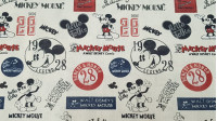 Cotton Classic Disney Mickey fabric - Disney cotton fabric with the character Mickey as the protagonist of its beginnings, the first and the classic Mickey Mouse! Mickey posters and logos also appear decorating this fabric. The fabric is 150cm wide and it