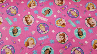 Cotton Disney Princesses fabric - Disney cotton fabric with drawings of princesses like Rapunzel, Bella, Tiana and Cinderella on a fuchsia background with flowers.