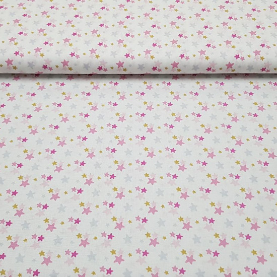 Cotton Colorful Stars fabric - Cotton poplin fabric with colorful star patterns on a white background. The fabric is 140cm wide and its composition is 100% cotton