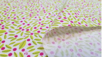 Cotton Flowers Mini White Background fabric - Organic cotton poplin fabric with flower drawings in green and fuchsia on a white background. The fabric is 150cm wide and its composition is 100% cotton.