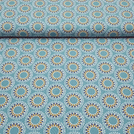 Cotton Mosaic Ornamental Circles fabric - Cotton poplin fabric with ornamental mosaic patterns with circles making geometric shapes on a sea-green background. The fabric is 150cm wide and its composition is 100% cotton.