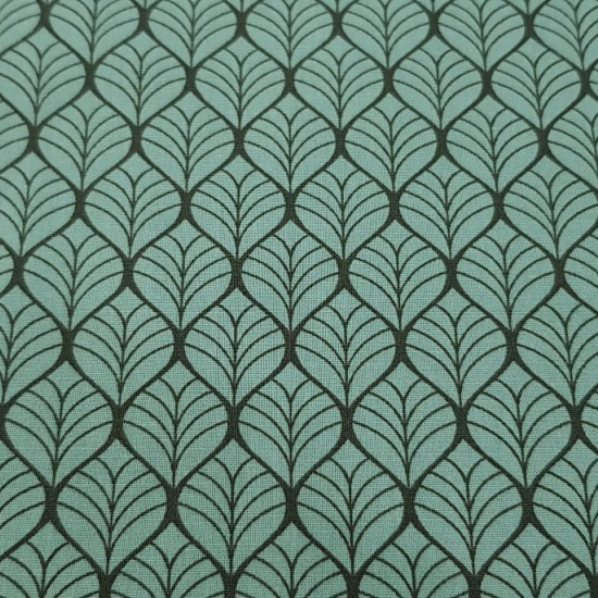 Cotton Geometric Shapes Green fabric - Cotton fabric with drawings of geometric shapes on a green background. The fabric is 150cm wide and its composition is 100% cotton.