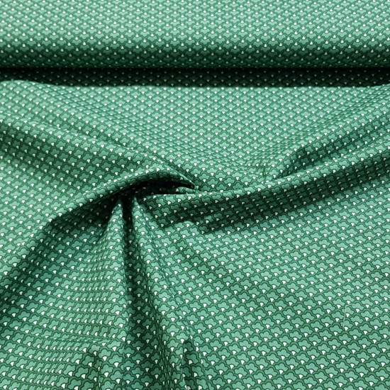 Cotton Mosaic Green Tones fabric - Cotton fabric with drawings of shapes making a mosaic in green tones. The fabric is 150cm wide and its composition is 100% cotton.