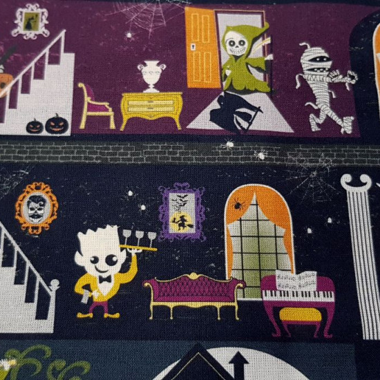 Cotton Halloween Haunted Mansion fabric - Organic cotton fabric with Halloween-themed drawings where different characters appear in a haunted house. The fabric is 150cm wide and its composition is 100% cotton.