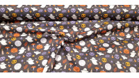 Cotton Halloween Ghosts Moons fabric - Halloween-themed digital printing cotton fabric where ghosts, full moons, bats, mushrooms, candles... appear on a dark background. The fabric is 140cm wide and its composition is 100% cotton.