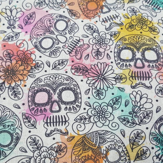 Cotton Floral Skulls Color Background fabric - Cotton fabric digital printing with drawings of skulls and floral ornaments in black strokes on a light background with blurred colors. The fabric is 140cm wide and its composition is 100% cotton.