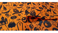 Polycotton Halloween Orange fabric - Fine polyester and cotton fabric with Halloween-themed drawings where witch hats, skeletons, cauldrons, ghosts, graves... appear on an orange background. The fabric is 110cm wide and its composition is 80% polyester