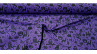Polycotton Halloween Violet fabric - Fine polyester and cotton fabric with Halloween drawings such as ghosts, witch hats, skeletons, cauldrons, graves... on a purple background. The fabric is 110cm wide and its composition is 80% polyester - 20% cotton.