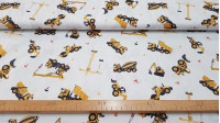 Cotton Construction Vehicles fabric - Cotton fabric with drawings of cranes, trucks, concrete mixers and other construction vehicles on a white background. The fabric is 140cm wide and its composition 100% cotton.
