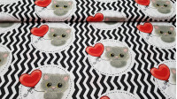 Cotton Kittens and Balloons fabric - Cotton fabric with drawings of gray kittens with red heart-shaped balloons on a zigzag background. The fabric is 150cm wide and its composition 100% cotton.