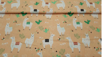 Cotton Flames Cactus Pumpkin Background fabric - Children's cotton poplin fabric with drawings of llamas, cactus and geometric shapes on an orange pumpkin tone background. The fabric is 160cm wide and its composition 100% cotton.