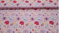 Cotton Elephants Giraffes Pink fabric - Infant cotton poplin fabric with very funny drawings of elephants, giraffes, turtles, tigers and little birds all very colorful on a pink background with drawings of flowers and stars of various shapes and colors. T
