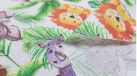 Cotton Animals Jungle White fabric - Poplin cotton fabric with children's drawings of animals in the jungle on a white background. Fabric made in Spain. The fabric is 150cm wide and its composition is 100% cotton.