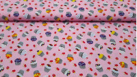 Cotton Cupcakes Fruits Pink fabric - Cotton fabric with drawings of cupcakes and red fruits, cherries and strawberries, on a pink background. The fabric is 150cm wide and its composition is 100% cotton.
